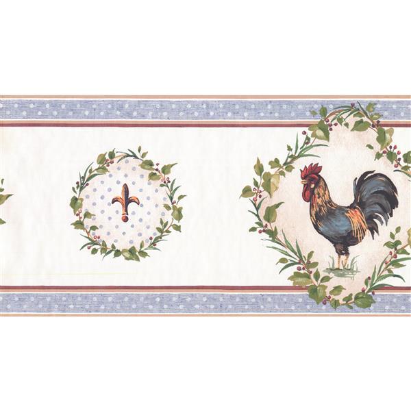 York Wallcoverings Prepasted Rooster and Fleur-de-lis Wallpaper