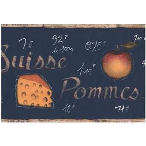 York Wallcoverings Prepasted Cheese and Fruit Wallpaper - Indigo