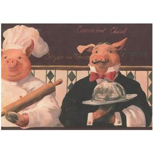 Prepasted Pigs and Chef Vintage Wallpaper