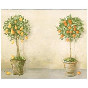 Norwall Prepasted Fruit Trees in Pots Vintage Wallpaper