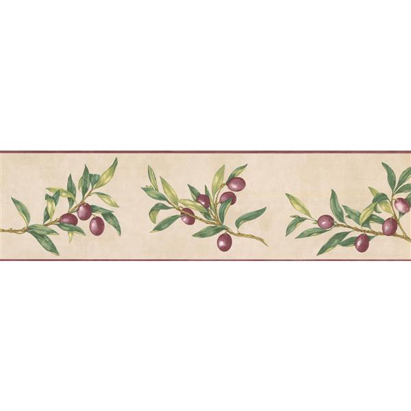 Norwall Prepasted Olives on Vine Wallpaper - Purple