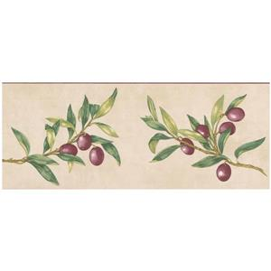 Norwall Prepasted Olives on Vine Wallpaper - Purple