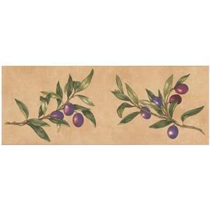 Norwall Prepasted Olives on Vine Wallpaper -Tan