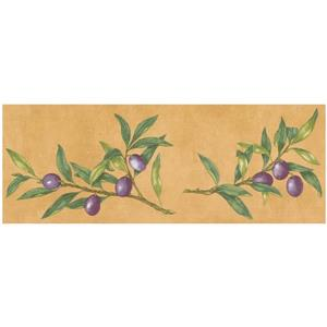Norwall Prepasted Olives on Vine Wallpaper - Latte