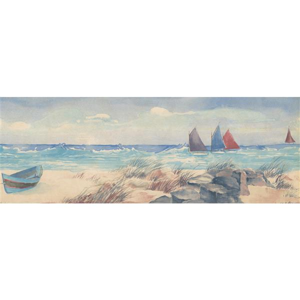 Norwall Prepasted Sandy Beach and Sail Boats Wallpaper