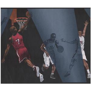 York Wallcoverings Prepasted Basketball Players Wallpaper - Grey/Black