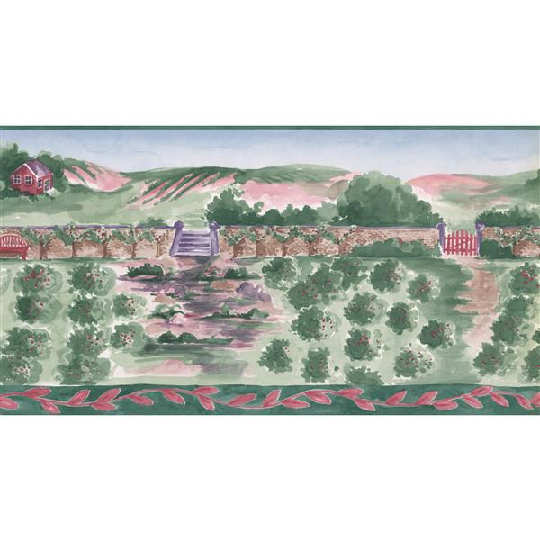 Norwall Prepasted Painted Apple Farm Cottage Wallpaper