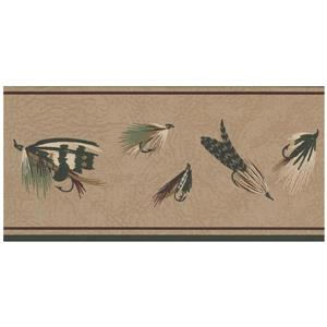 York Wallcoverings Prepasted Fishing Lures Sepia Wallpaper - Brown