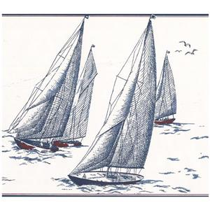 York Wallcoverings Prepasted Sail boats in Sea Sketch Wallpaper