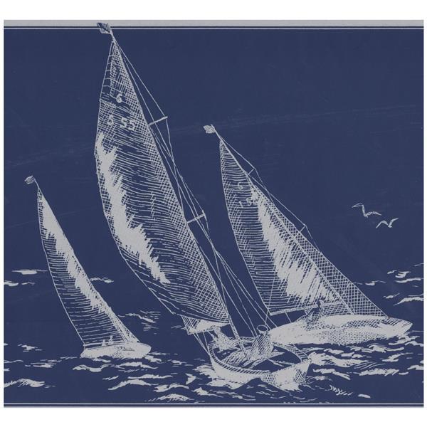 York Wallcoverings Prepasted Sail boats in Sea Sketch Wallpaper