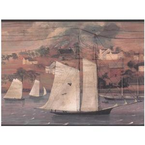 York Wallcoverings Prepasted Village by Lake and Ships Wallpaper
