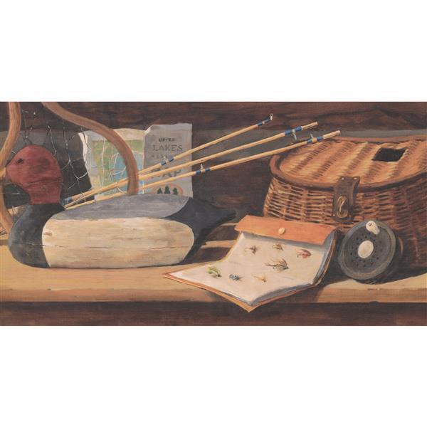 York Wallcoverings Prepasted Fishing Rod and Basket Vintage Wallpaper