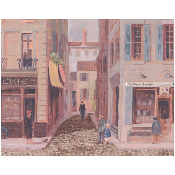 York Wallcoverings Prepasted Vintage City Shops and Café Wallpaper