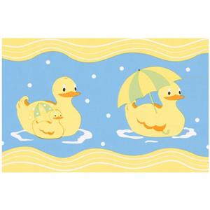 Norwall Prepasted Rubber Ducks Wallpaper Border - Yellow
