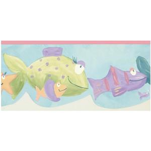 Norwall Prepasted Kids Painted Fish Wallpaper - Blue