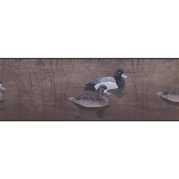 Norwall Prepasted Ducks in Pond Wallpaper Border - Caramel/Brown