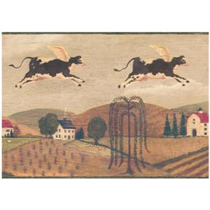 Prepasted Flying Cow Over Village Wallpaper
