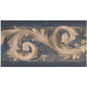 Prepasted Damask Vine Wallpaper - Beige/Blue