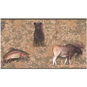 York Wallcoverings Prepasted Animals over Map Wallpaper