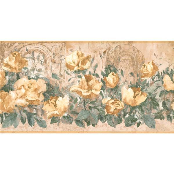 York Wallcoverings Prepasted Roses Wallpaper Border - Vintage Yellow