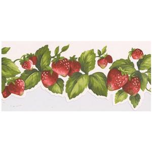 Norwall Prepasted Strawberries on Vine Scalloped Wallpaper