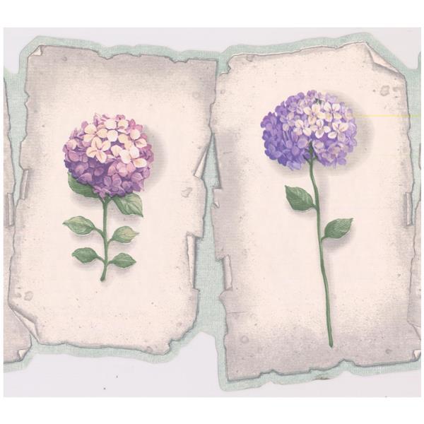 Retro Art Prepasted Hydrangea and Hortensia Wallpaper - Purple/Blue