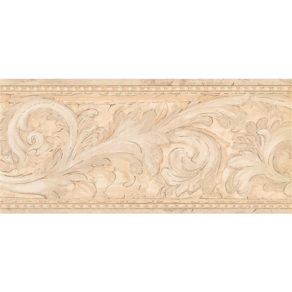 York Wallcoverings Prepasted Damask Vines Wallpaper - Beige