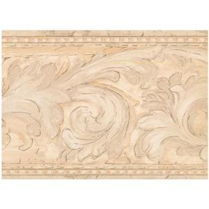 York Wallcoverings Prepasted Damask Vines Wallpaper - Beige