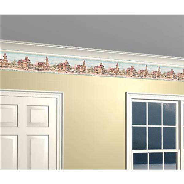 York Wallcoverings Prepasted Fishermen Village and Cottages Wallpaper