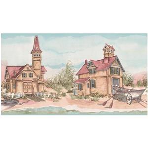 York Wallcoverings Prepasted Fishermen Village and Cottages Wallpaper
