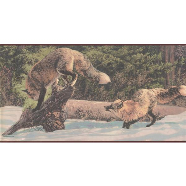 Retro Art Prepasted Foxes in Snow Forest Wallpaper Border