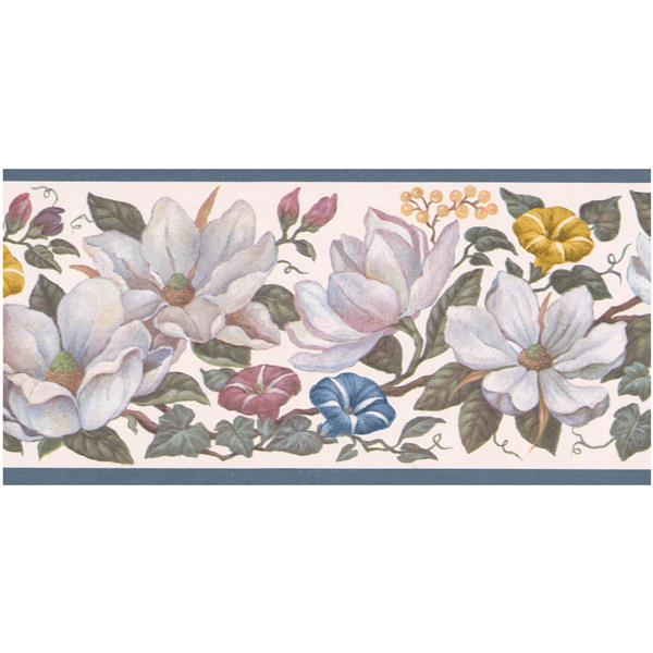 Retro Art Prepasted Floral Wallpaper Border - White/Yellow