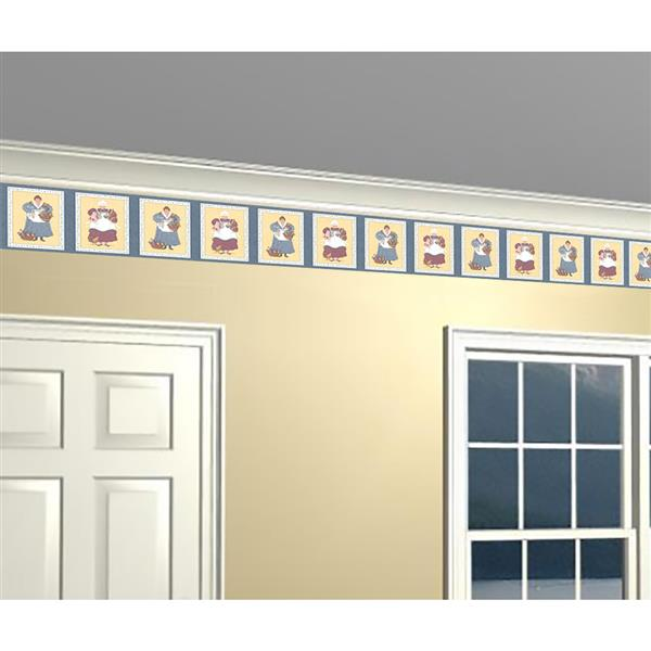 Retro Art Prepasted Plaques with Chefs Wallpaper - Yellow