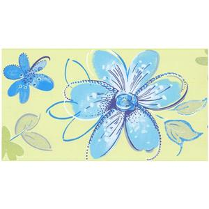 Prepasted Flowers Wallpaper Border - Blue/Yellow