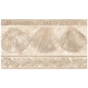 Retro Art Prepasted Seashells Wallpaper Border - Beige