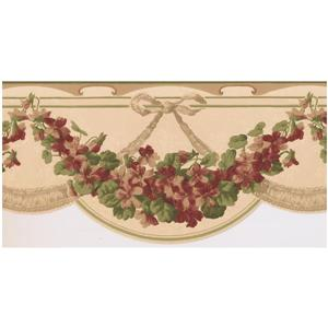 Norwall Prepasted Floral Garland Wallpaper - Magenta Pink