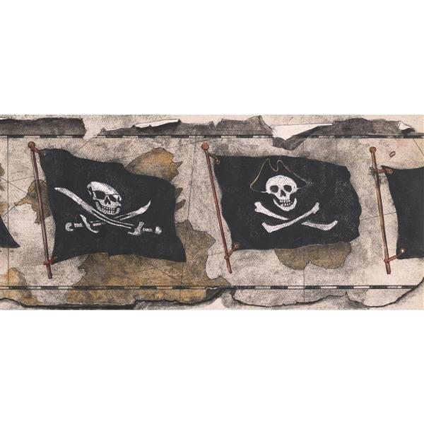 Retro Art Prepasted Vintage Pirate Flag Wallpaper