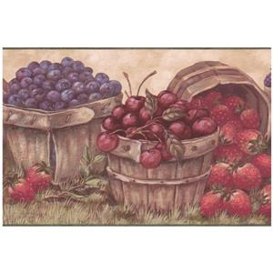 Retro Art Prepasted Berries in Baskets Wallpaper - Cherry