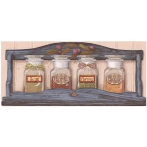 Retro Art Prepasted Spices in Jars Wallpaper Border - White
