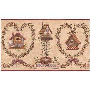 Retro Art Prepasted Birdhouse and Nest Wallpaper Border - Tan