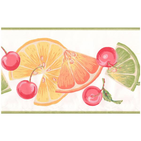 York Wallcoverings Orange Slices and Cherries Wallpaper - Mint