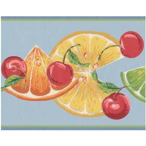 York Wallcoverings Orange Slices and Cherries Wallpaper - Teal