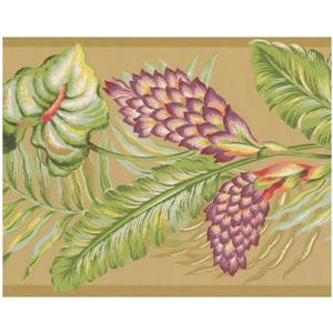 York Wallcoverings Leaves Wallpaper Border - Purple/Green