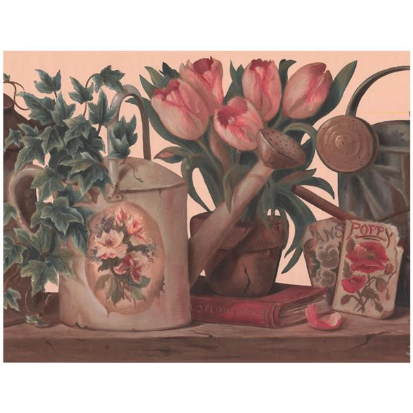 York Wallcoverings Watering Can and Tulips in Pot Wallpaper - Beige