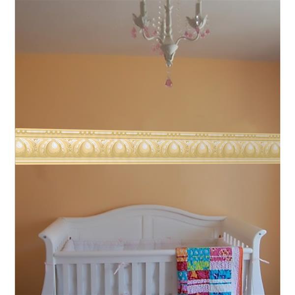 York Wallcoverings Victorian Wallpaper Border - Yellow/White