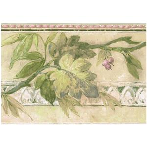 Norwall Retro Berries on Vine Wallpaper Border - Mauve/Purple