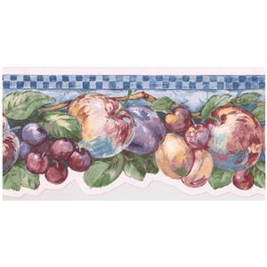 Retro Art Fruits on Vine Wallpaper Border