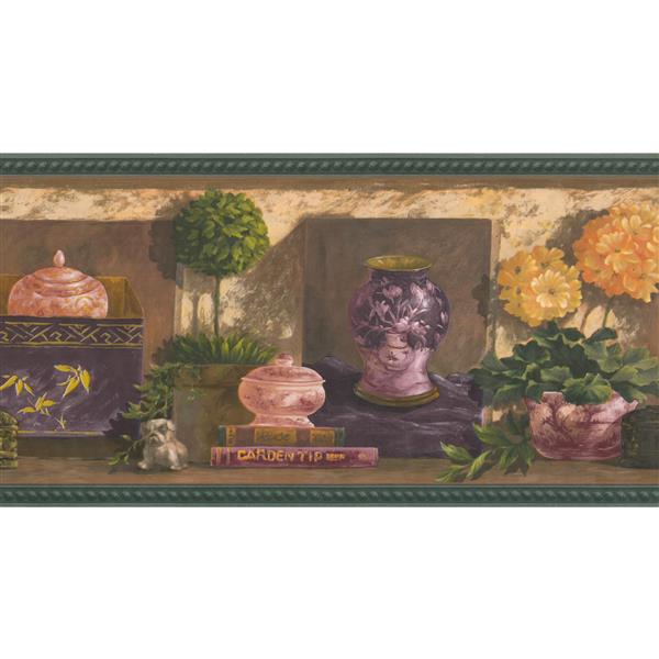 Retro Art Potted Flowers and Books Wallpaper - Yellow/Green