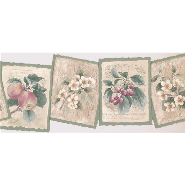 Retro Art Vintage Plaques with Plants and Fruits Wallpaper