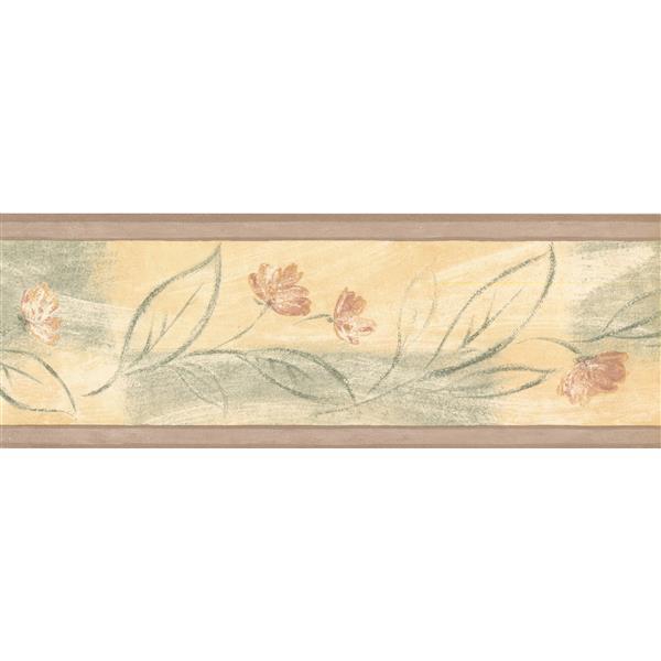 Retro Art Abstract Floral Wallpaper Border - Yellow/Green